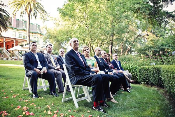wedding guests at outdoor wedding ceremony