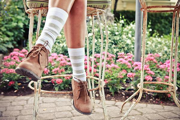 desert boots with striped socks