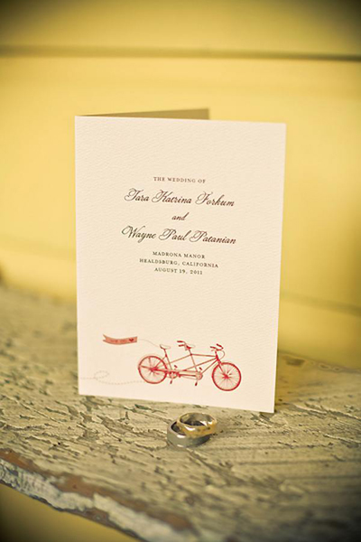 tandem bicycle wedding invitation