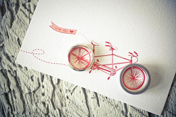 wedding rings on tandem bicycle drawing