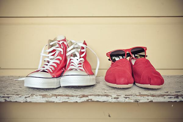 red converse and red tom's wedding shoes