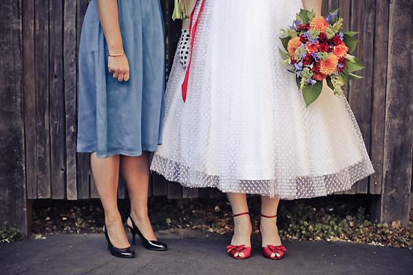 swiss dot BHLDN wedding dress and red shoes