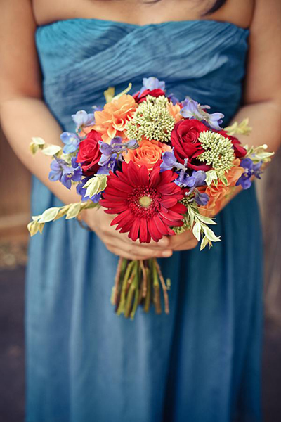 multi-colored bridesmaid bouquet