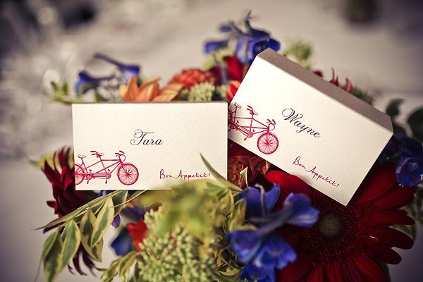 tandem bicycle place cards