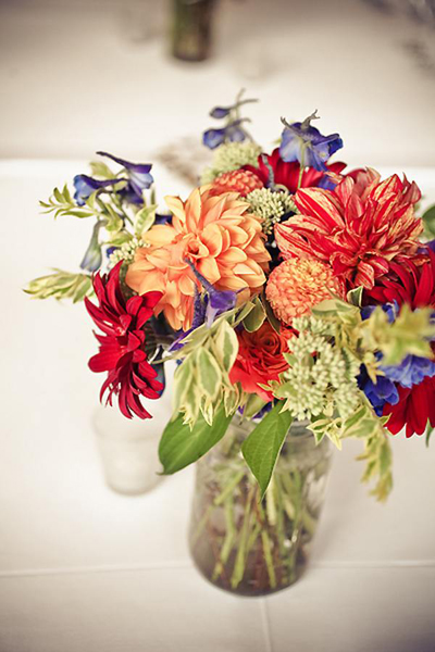 Multi-colored wedding flower arrangement