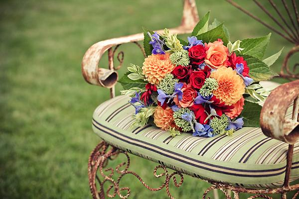 wedding bouquet on vintage chair