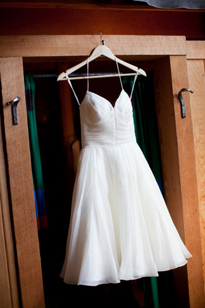 short wedding dress hanging up