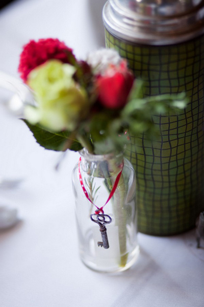 skeleton key on wedding flower arrangement
