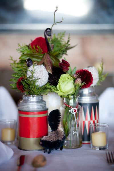 rustic floral centerpieces in vintage thermoses