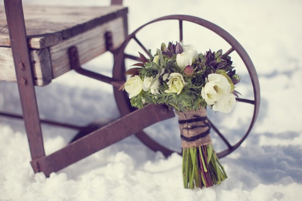 wedding bouquet in the snow