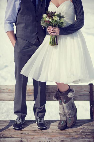 bride wearing mukluks