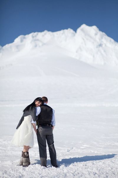 bride and groom portrait in the snow