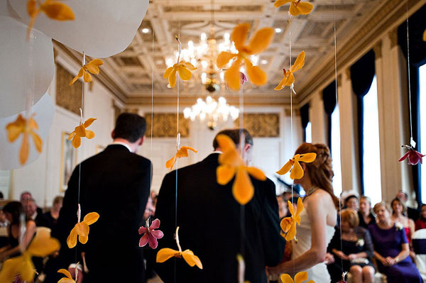 hanging orchid ceremony backdrop