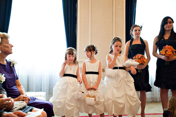 flower girls at wedding ceremony