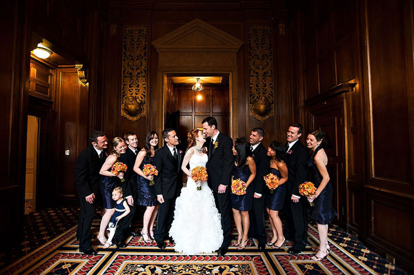 bridal party portrait inSir Francis Drake Hotel