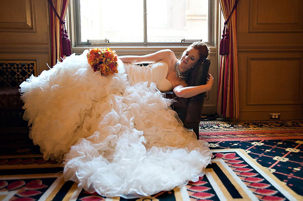 bride in ruffled wedding gown