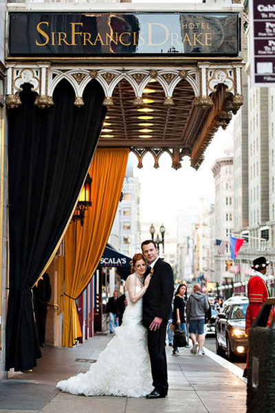 Sir Francis Drake Hotel wedding portrait