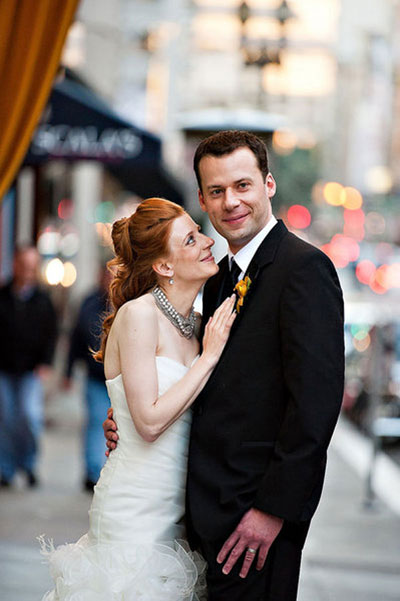 bride and groom portrait on San Francisco street