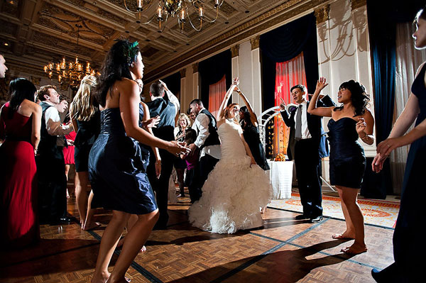 wedding dance party in grand hotel ballroom