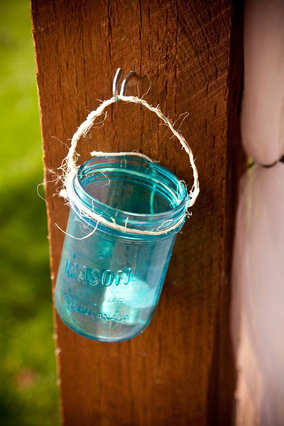 blue mason jar candle holders