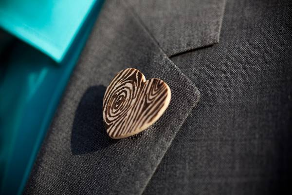 wooden heart boutonniere