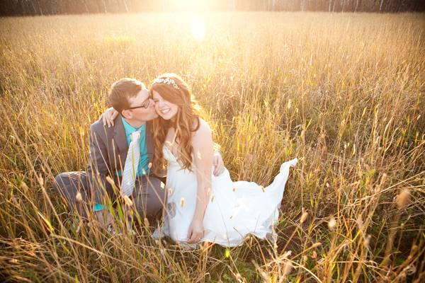 dusk wedding portrait