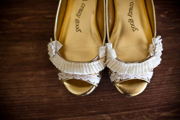 ruffled wedding shoes