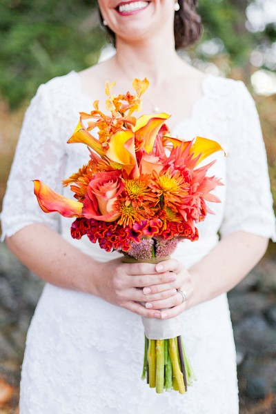orange and red wedding bouquet
