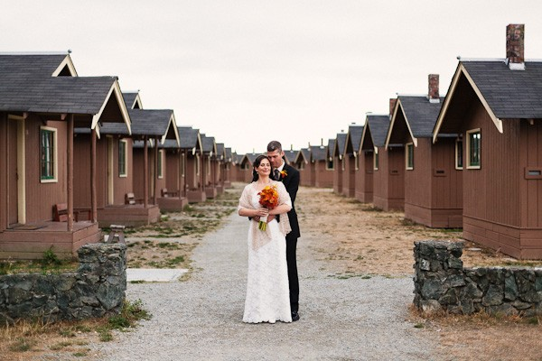 Bride And Groom Portrait By Cama Beach Cabins