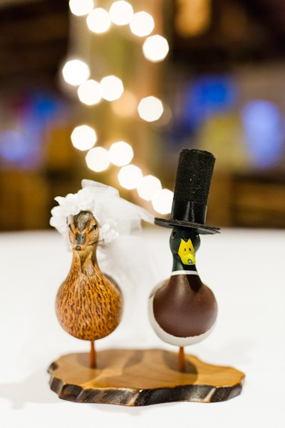bride and groom duck cake toppers