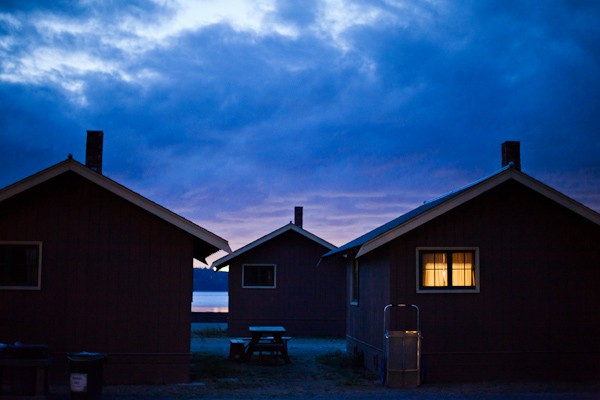 Cama Beach cabins at night