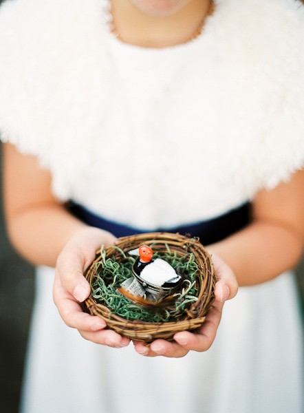 wedding rings in bird's nest