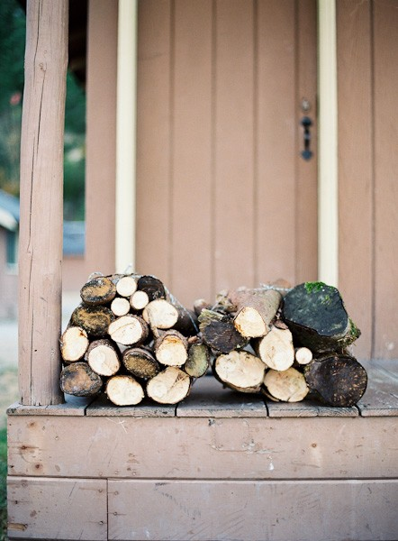 logs on porch