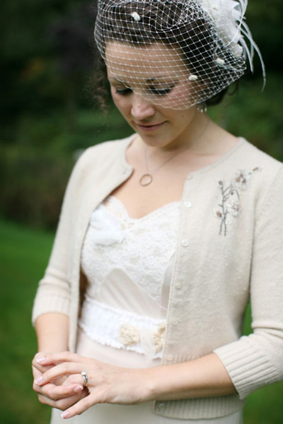 Fall bride in a cardigan