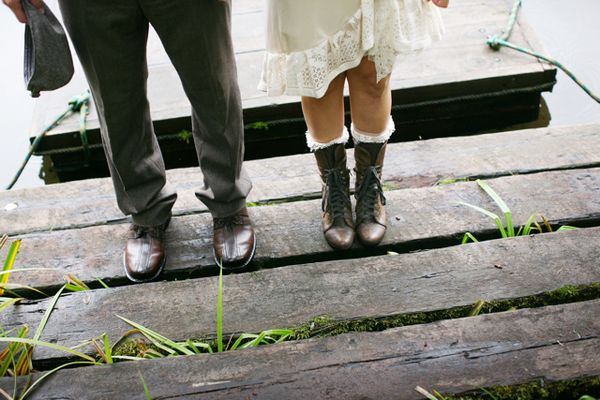 bride in lace up boots