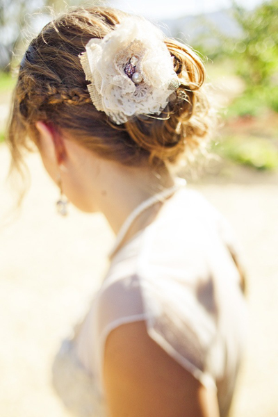 bride wearing handmade rustic lace fascinator