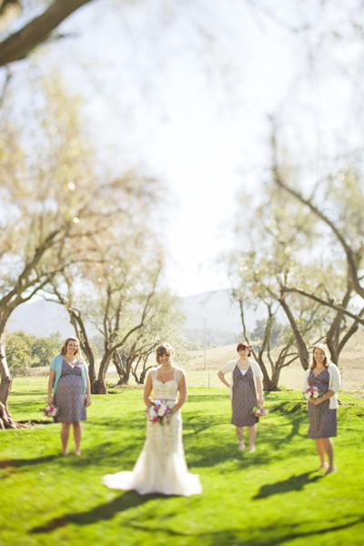 bride and bridesmaids on ranch grounds