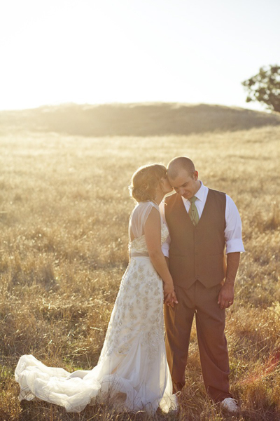 bride and groom portrait at sunset on the ranch