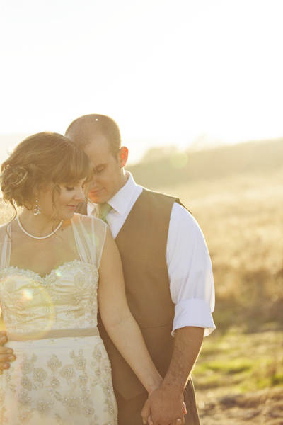 bride and groom portrait on the ranch