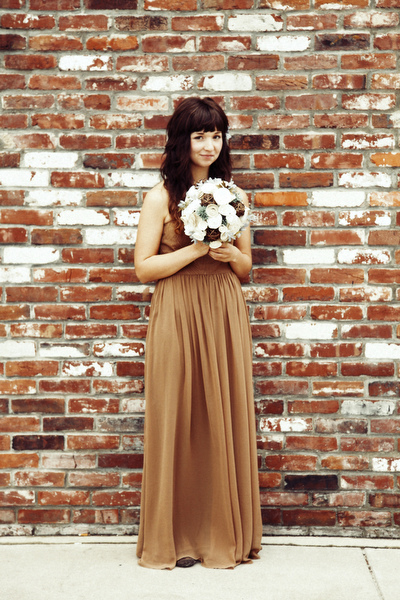 DIY bride in brown elopement dress