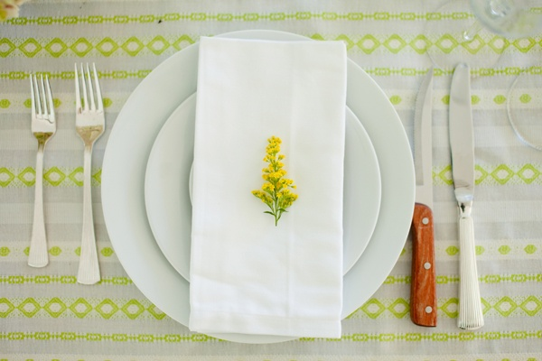 neon tablecloth place setting