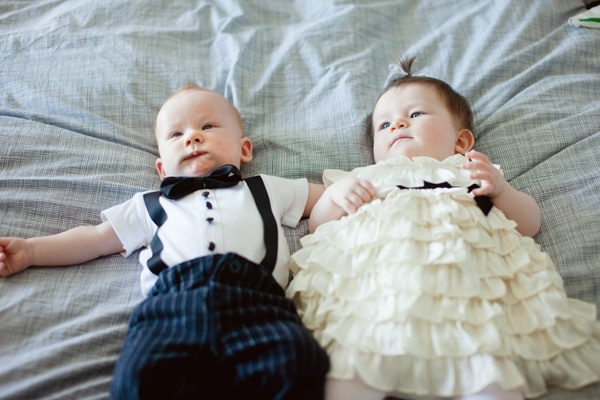 babies in wedding attire