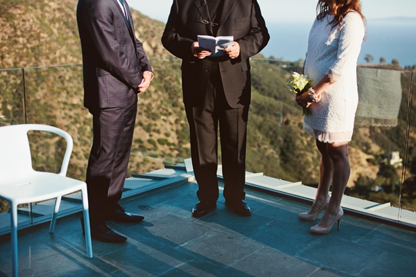 wedding ceremony on balcony of Malibu house