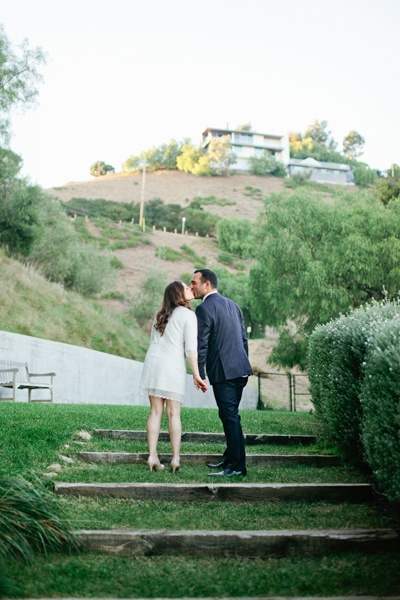 Malibu bride and groom kissing