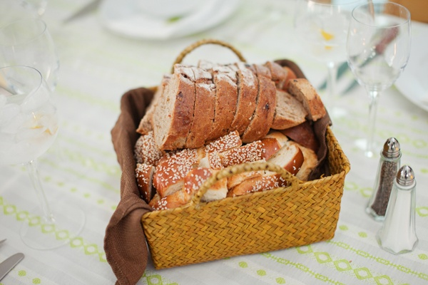 bread basket on neon tablecloth