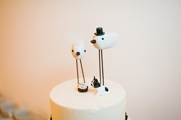 birds and french bulldog cake topper