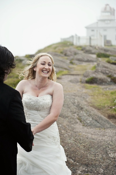 Lighthouse elopement ceremony