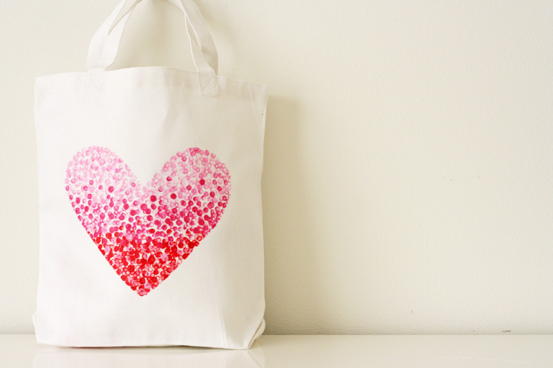 painted heart bag