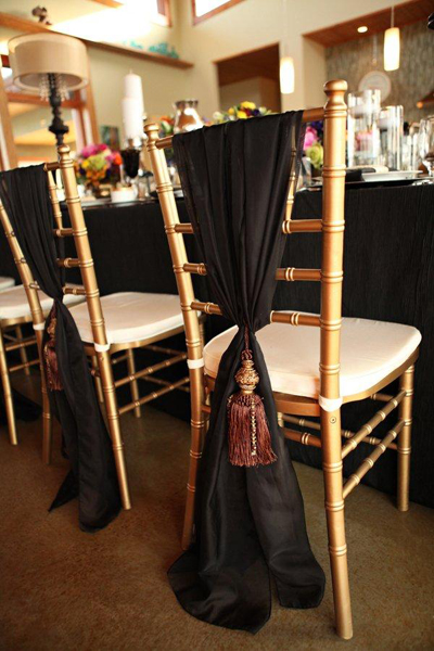 gold chiavari chairs and gold tassels