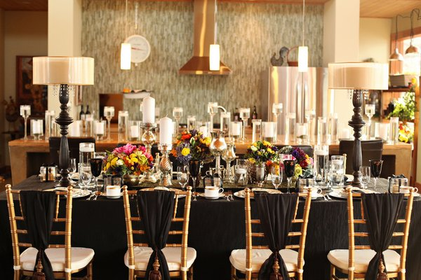 glamorous bohemian wedding reception